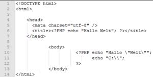 Backslash für Maskierungsanzeichen in einer PHP echo Anweisung