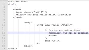 Mehrzeiliger PHP Kommentar