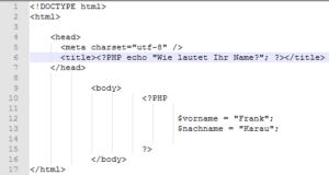 Der PHP Variable einen Wert zuweisen