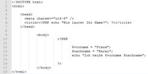 PHP Variablen per echo Ausgabe