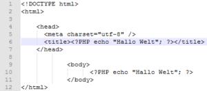 PHP Script: Per echo mit Ausgabe von Hello Word